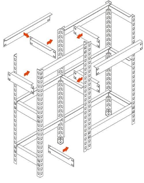 Схема сборки стеллажей серии